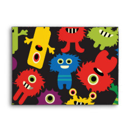 Colorful Crazy Fun Monsters Creatures Pattern Envelopes