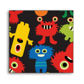 Colorful Crazy Fun Monsters Creatures Pattern Envelope