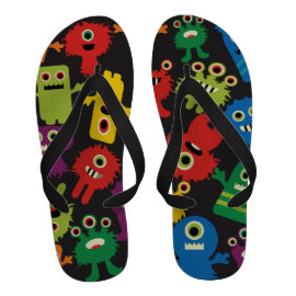 Colorful Crazy Fun Monsters Creatures Pattern Flip Flops