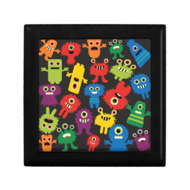 Colorful Crazy Fun Monsters Creatures Pattern Keepsake Boxes