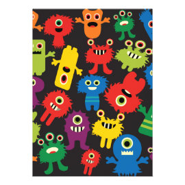 Colorful Crazy Fun Monsters Creatures Pattern Custom Announcement
