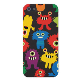 Colorful Crazy Fun Monsters Creatures Pattern Cover For iPhone 5/5S