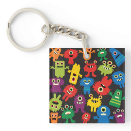 Colorful Crazy Fun Monsters Creatures Pattern Acrylic Key Chains