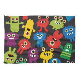 Colorful Crazy Fun Monsters Creatures Pattern Towel