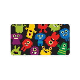 Colorful Crazy Fun Monsters Creatures Pattern Personalized Address Labels