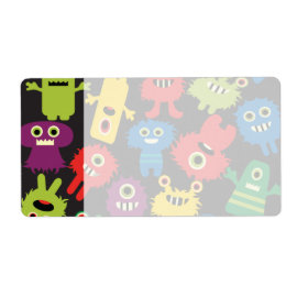 Colorful Crazy Fun Monsters Creatures Pattern Custom Shipping Label
