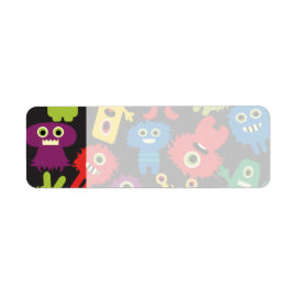 Colorful Crazy Fun Monsters Creatures Pattern Custom Return Address Labels