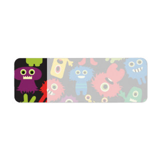 Colorful Crazy Fun Monsters Creatures Pattern Label