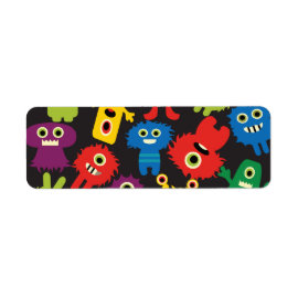 Colorful Crazy Fun Monsters Creatures Pattern Return Address Labels