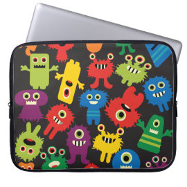 Colorful Crazy Fun Monsters Creatures Pattern Laptop Sleeves