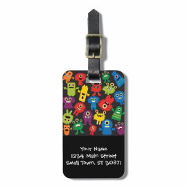 Colorful Crazy Fun Monsters Creatures Pattern Travel Bag Tags