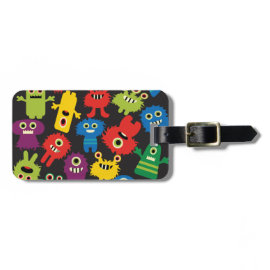 Colorful Crazy Fun Monsters Creatures Pattern Bag Tags
