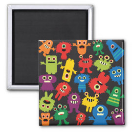 Colorful Crazy Fun Monsters Creatures Pattern Refrigerator Magnet