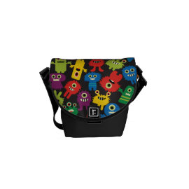 Colorful Crazy Fun Monsters Creatures Pattern Messenger Bags