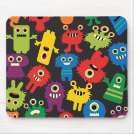 Colorful Crazy Fun Monsters Creatures Pattern Mousepad