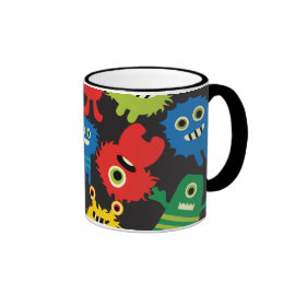 Colorful Crazy Fun Monsters Creatures Pattern Coffee Mugs