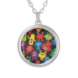 Colorful Crazy Fun Monsters Creatures Pattern Necklaces