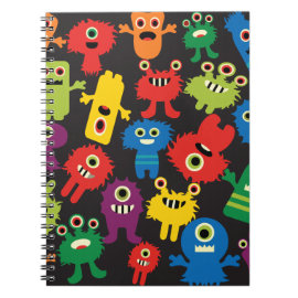 Colorful Crazy Fun Monsters Creatures Pattern Spiral Note Books