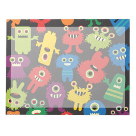 Colorful Crazy Fun Monsters Creatures Pattern Memo Notepad