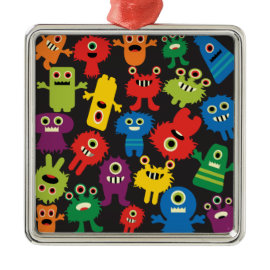 Colorful Crazy Fun Monsters Creatures Pattern Christmas Ornaments
