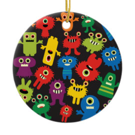 Colorful Crazy Fun Monsters Creatures Pattern Christmas Tree Ornaments