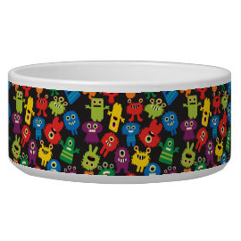 Colorful Crazy Fun Monsters Creatures Pattern Pet Food Bowls