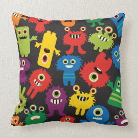 Colorful Crazy Fun Monsters Creatures Pattern Pillows