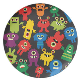 Colorful Crazy Fun Monsters Creatures Pattern Plate