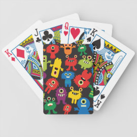 Colorful Crazy Fun Monsters Creatures Pattern Bicycle Card Decks