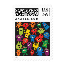 Colorful Crazy Fun Monsters Creatures Pattern Postage Stamps