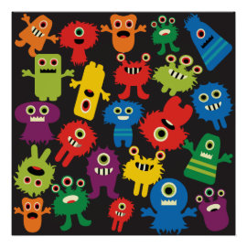 Colorful Crazy Fun Monsters Creatures Pattern Print
