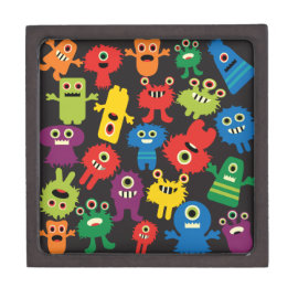 Colorful Crazy Fun Monsters Creatures Pattern Premium Jewelry Box