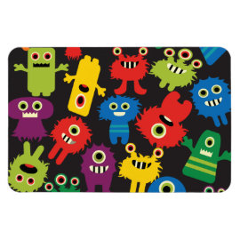 Colorful Crazy Fun Monsters Creatures Pattern Rectangle Magnet