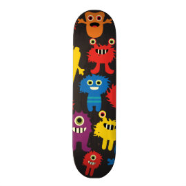 Colorful Crazy Fun Monsters Creatures Pattern Skateboard Deck