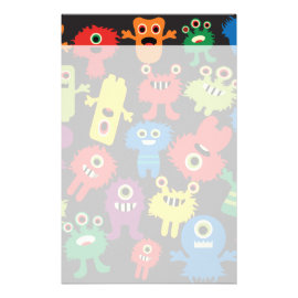 Colorful Crazy Fun Monsters Creatures Pattern Customized Stationery