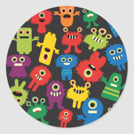 Colorful Crazy Fun Monsters Creatures Pattern Round Sticker