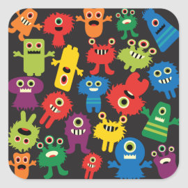 Colorful Crazy Fun Monsters Creatures Pattern Sticker