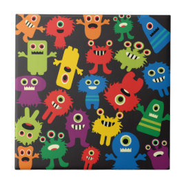 Colorful Crazy Fun Monsters Creatures Pattern Ceramic Tiles