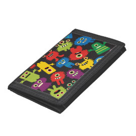 Colorful Crazy Fun Monsters Creatures Pattern Trifold Wallets