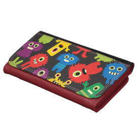 Colorful Crazy Fun Monsters Creatures Pattern Wallet
