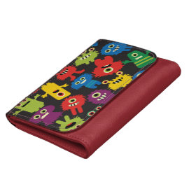 Colorful Crazy Fun Monsters Creatures Pattern Wallets
