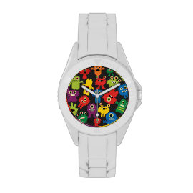 Colorful Crazy Fun Monsters Creatures Pattern Watches