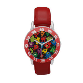 Colorful Crazy Fun Monsters Creatures Pattern Wristwatch