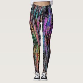 Colorful, Crazy, Funky with Vertical Abstract Art Leggings