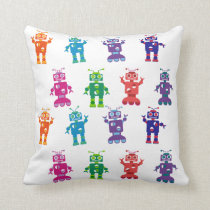 Colorful Crazy Robot Kids Bedroom Throw Pillow