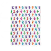 Colorful Crazy Robots Cozy Kids Fleece Blanket