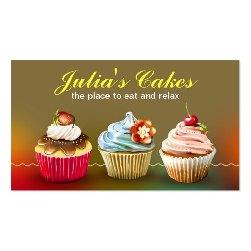 colorful creamy cupcakes business card (front side)