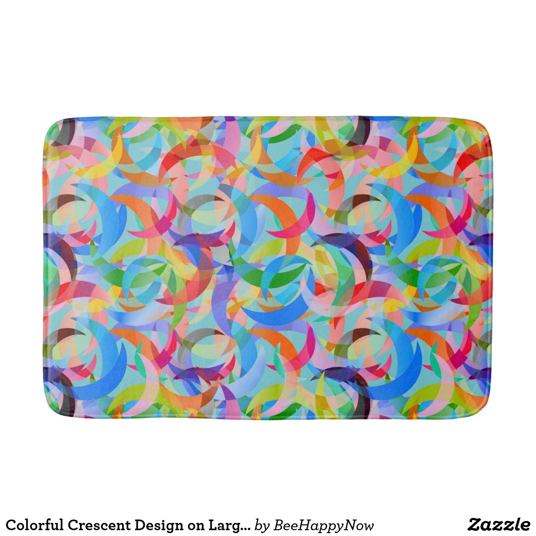 Colorful Crescent Design on Large Large Bath Mat