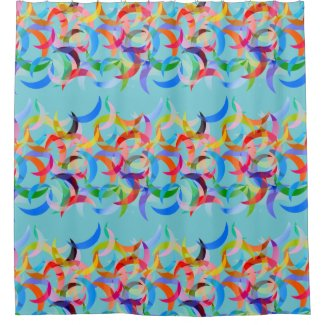 Colorful Crescent Design on Shower Curtain