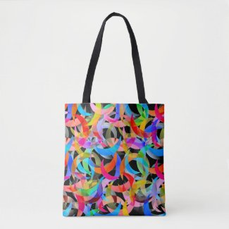 Colorful Crescent Design on Tote Bag